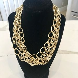Multi strand gold chain statement necklace